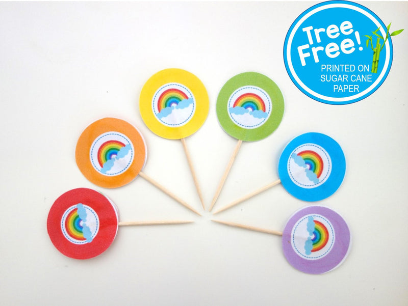Rainbow Party Picks, 12-pack (Printed on Tree Free Sugar Cane Paper)