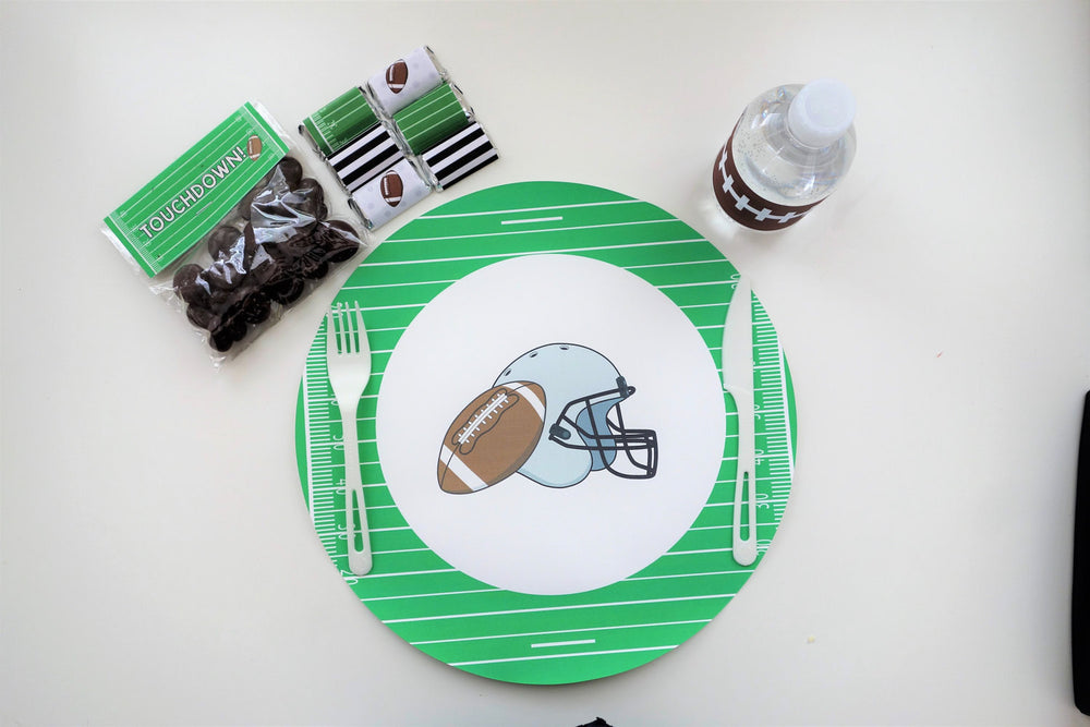 Football-themed Placemats (8-pack, 100% Cotton Paper)
