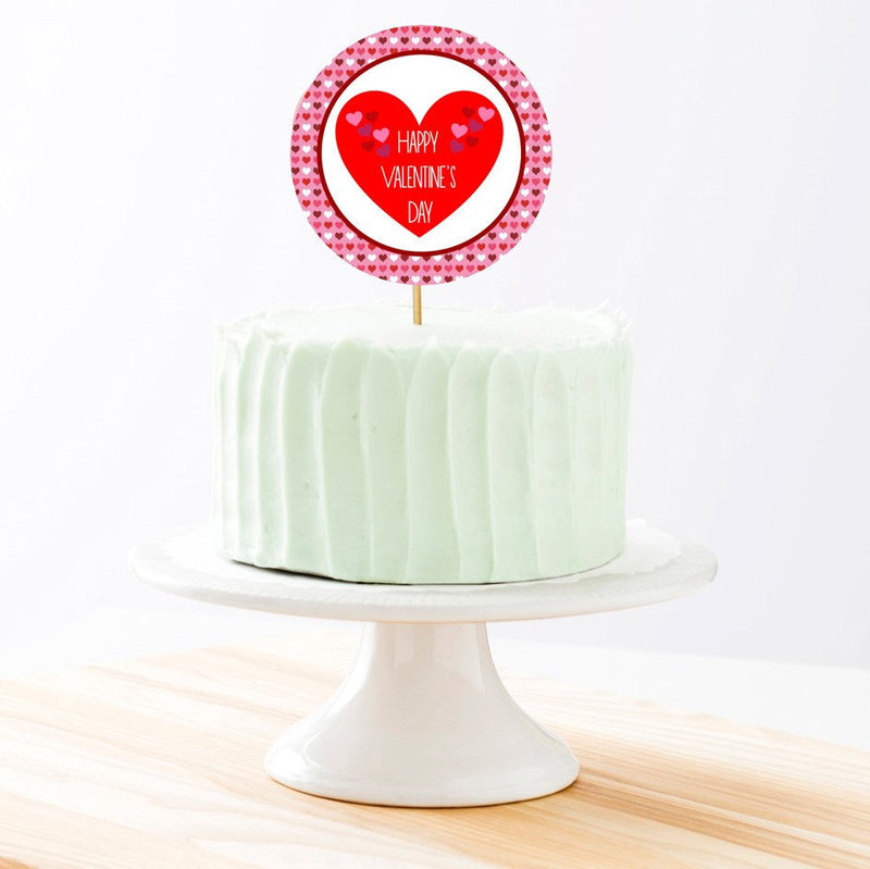 Valentine's Day Cake Topper, 6-inch Round, on 100% Recycled PCW Paperbard