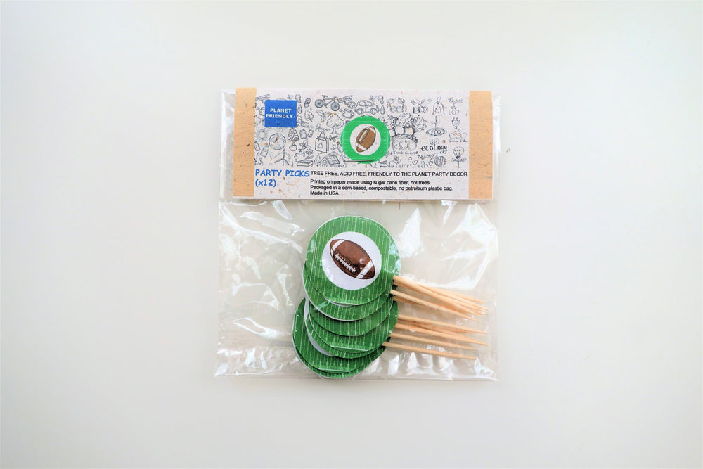 Football Party Picks, 12-pack (Printed on Tree Free Sugar Cane Paper)