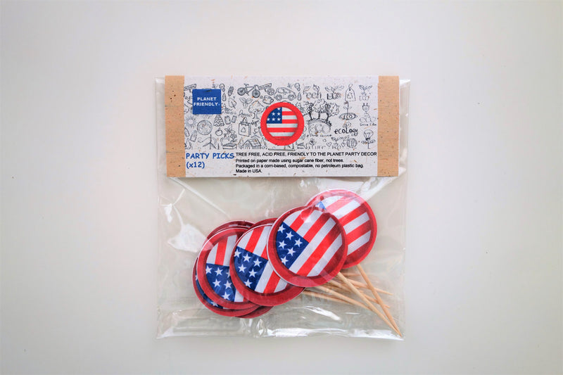 Fourth of July Party Picks, 12-pack (Printed on Tree Free Sugar Cane Paper, Compostable)