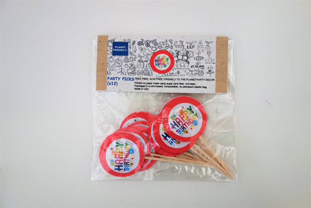 Happy Birthday Party Picks, 12-pack (Printed on Tree Free Sugar Cane Paper)