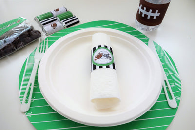 Football Tree-Free Paper Napkin Rings (pack of 10, Sugar Cane Stalk Paper)