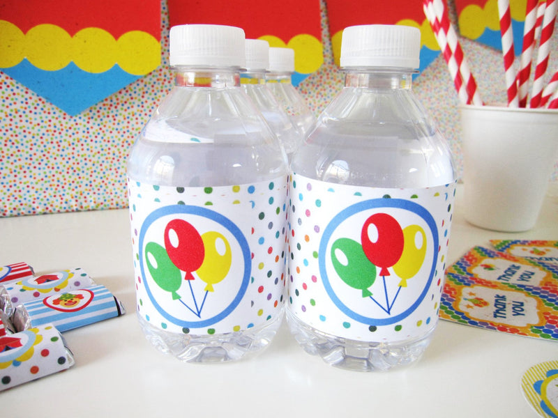 Circus Balloons Theme Tree-free Water Bottle Wraps (10-pack, Tree-Free Sugar Cane Stalk Paper)