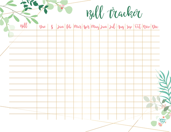 Leaves Printable Bill Tracker Letter Size Bullet Journal