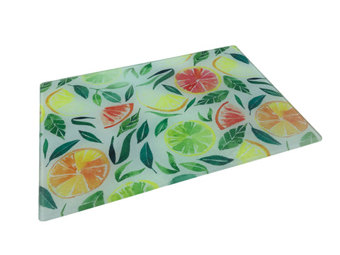 Citrus Glass Cutting Board With White Bottom