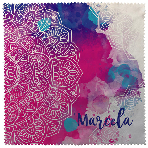 Personalized Eyeglass Cleaner Lens Cloth Pink & Blue Mandala Watercolor Collection