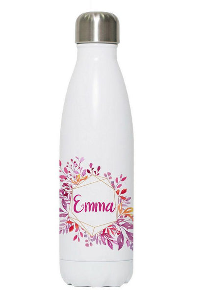 Personalized Watercolor Pink Flowers 17oz Stainless Steel Bottle