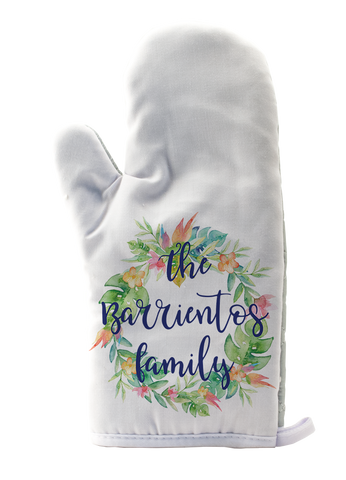 Personalized Flower Wreath Oven Mitt