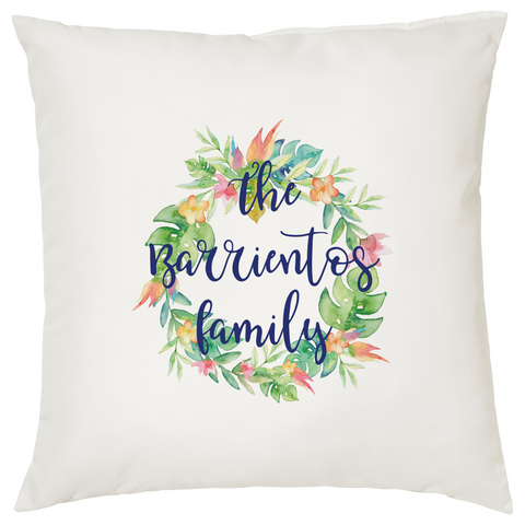 Personalized Flower Wreath Pillow Case