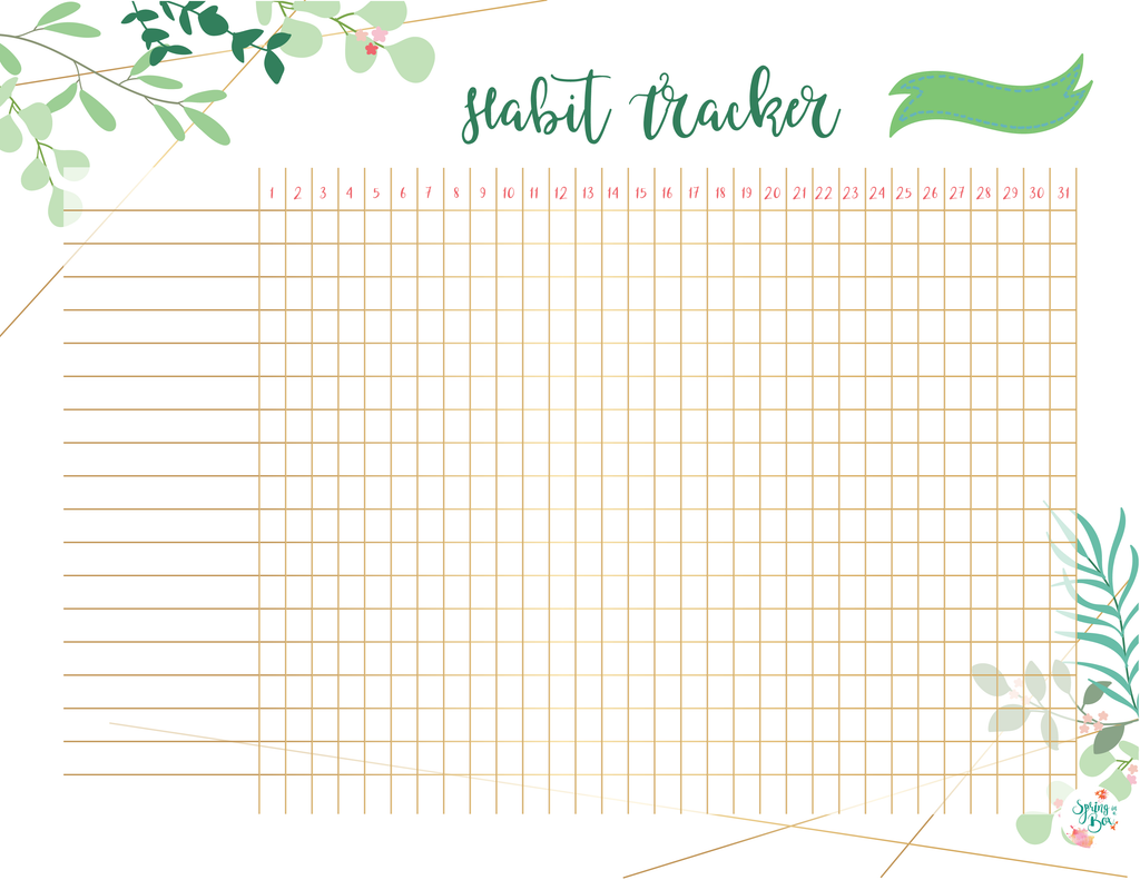 Leaves Printable Habit Tracker A5 Bullet Journal