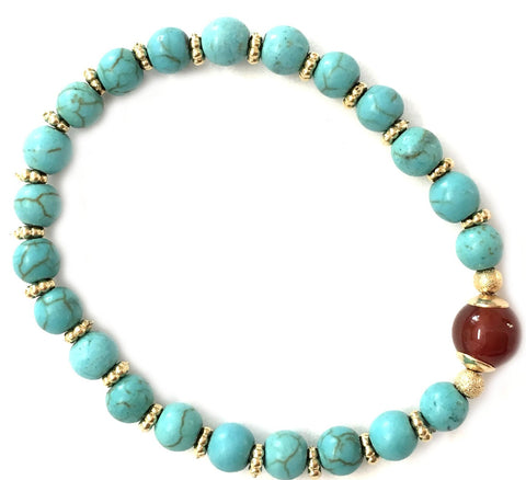 Cornelian and Turquoise Beads Bracelet