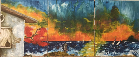 Islamorada. Triptych Acrylics with brush