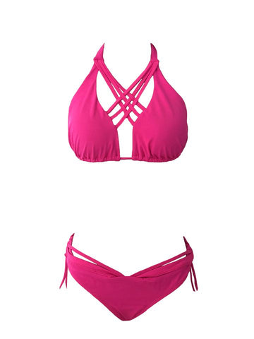 LONG ISLAND Fucsia Swimwear Striped Top & Solid Bikini Set