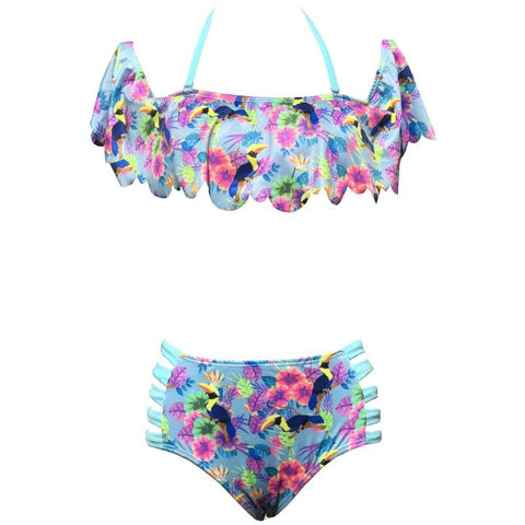 TORTUGA Light Blue Swimwear Tropical Flowers Bikini Set