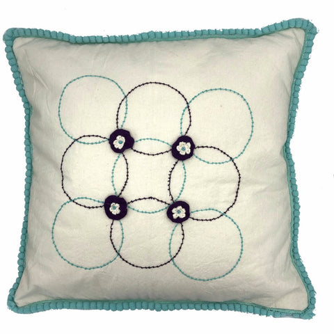 FLOWER GREEN BOWN CUSHION