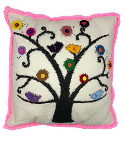 TREE BIRDS FUCHSIA CUSHION