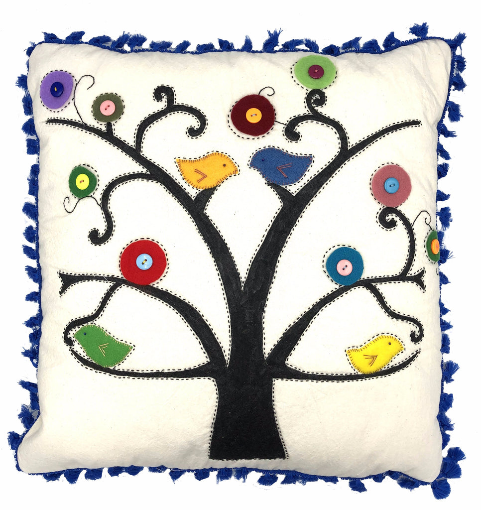 TREE BIRDS BLUE PILLOW