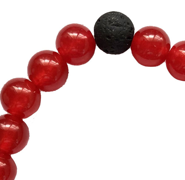Black Lava & Carnelian Breads Bracelet. (Set of 2)