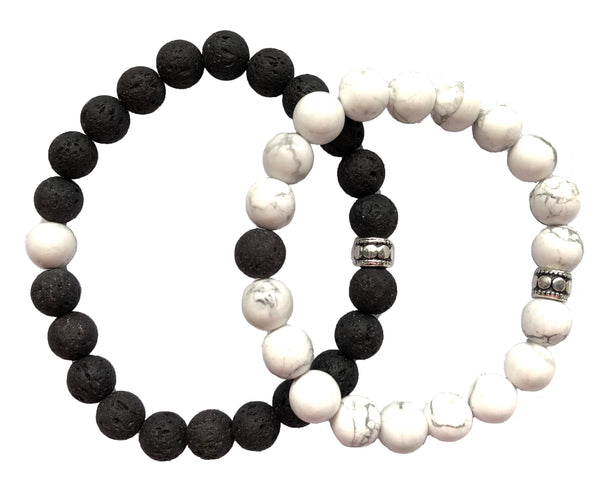 Black Lava &  Howlite Breads Bracelet.  (Set of 2)