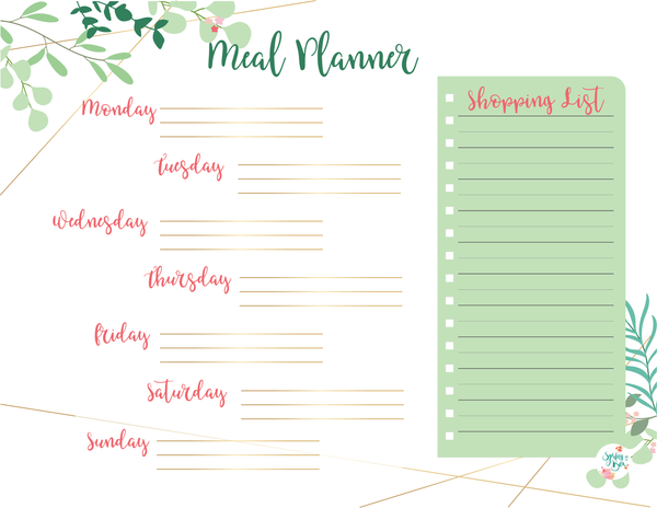 Leaves Printable Weekly Meal Planner Letter Bullet Journal