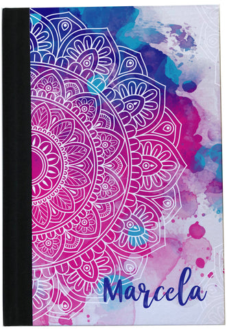 Personalized Pink & Blue Mandala Watercolor collection Notebook A5