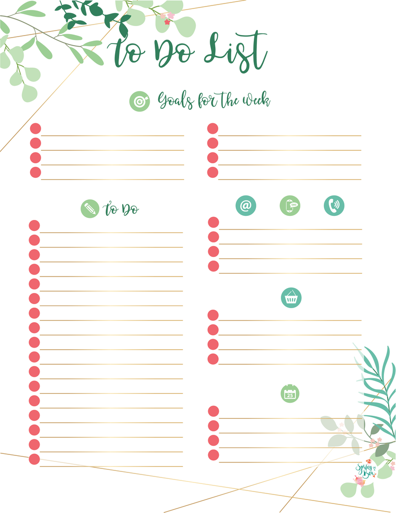 Leaves Printable To Do List A5 Size Bullet Journal