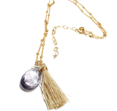 Amethyst Tassel Gold Filled Necklace
