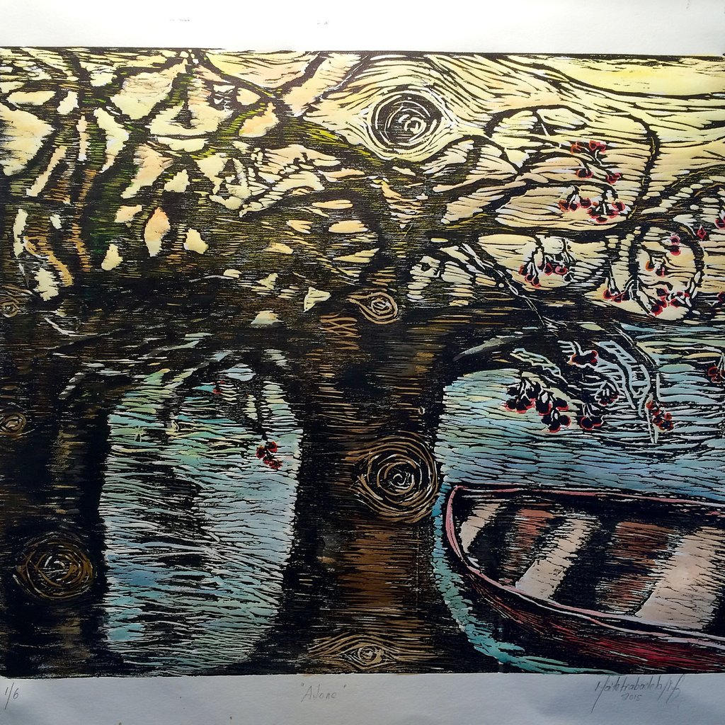 Under the shade, Woodcut 18 x 24 in.