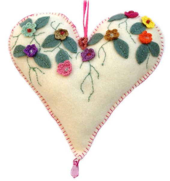 Felt Heart With Crochet Flowers