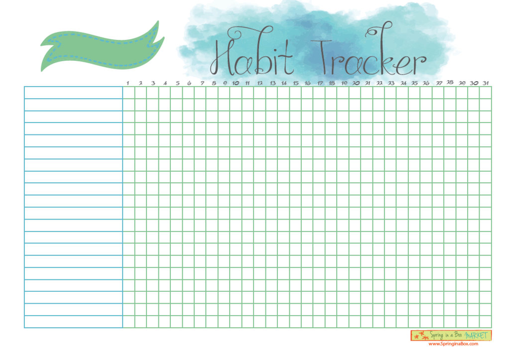 printable habit tracker letter bullet journal spring in a box market