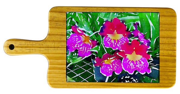 Pink Orchids Cheese board Watercolor collection