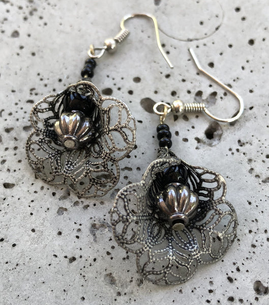 Black Orchid Earrings