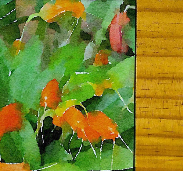 Orange Orchids Cheese board Watercolor collection