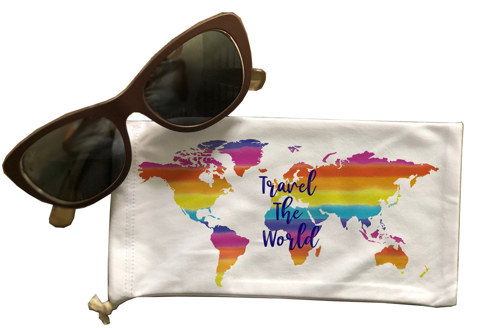 Travel the World Eyeglass Drawstring Pouch
