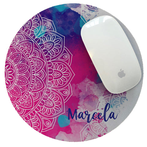 Personalized Mouse Pad Pink & Blue Mandala Watercolor collection