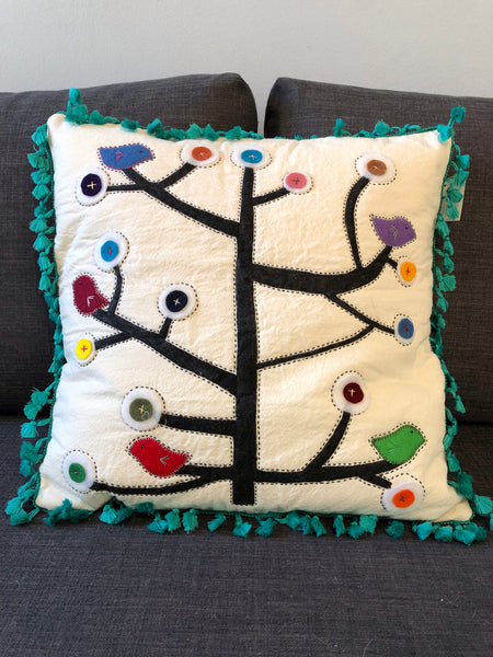 STRAIGHT TREE BIRDS GREEN CUSHION