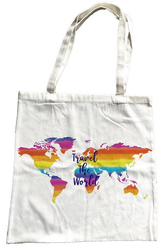 Travel the World Canvas Shopping Bag
