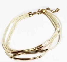 Gold Filled Tubs White Bracelet