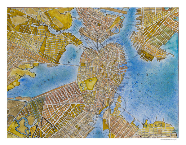 [boston map] [limited edition print]