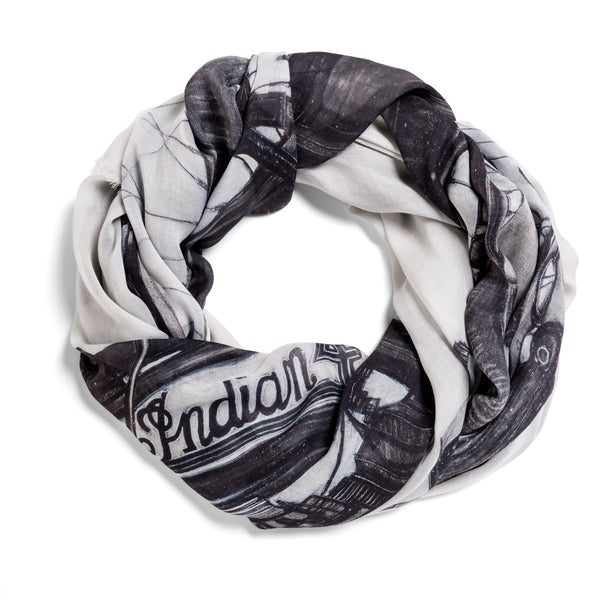 [vintage motorcycle]  [large oblong scarf]