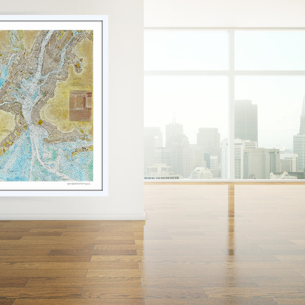 [new york harbor nautical chart] [limited edition print]