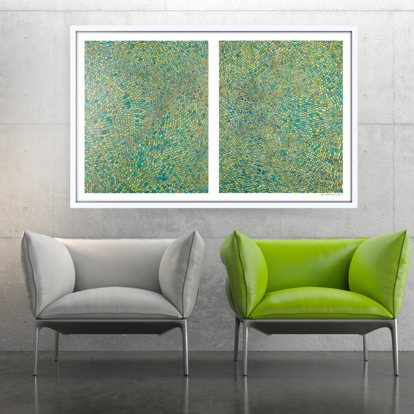 [green scales diptych] [limited edition print | printed together]