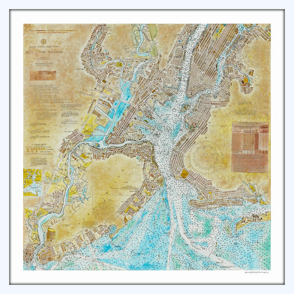 New York Harbor Nautical Chart Print