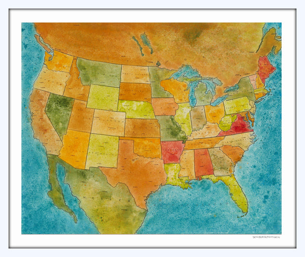 [us map] [limited edition print]