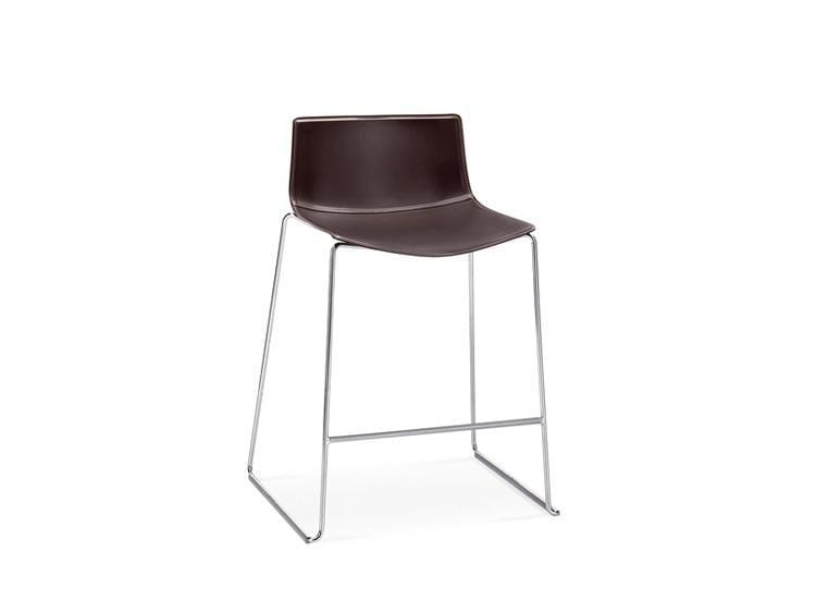 Catifa 46 (0476) - Stackable Counter Stool with Sled Base in Chromed Steel. by Arper | JANGEORGe Interior Design