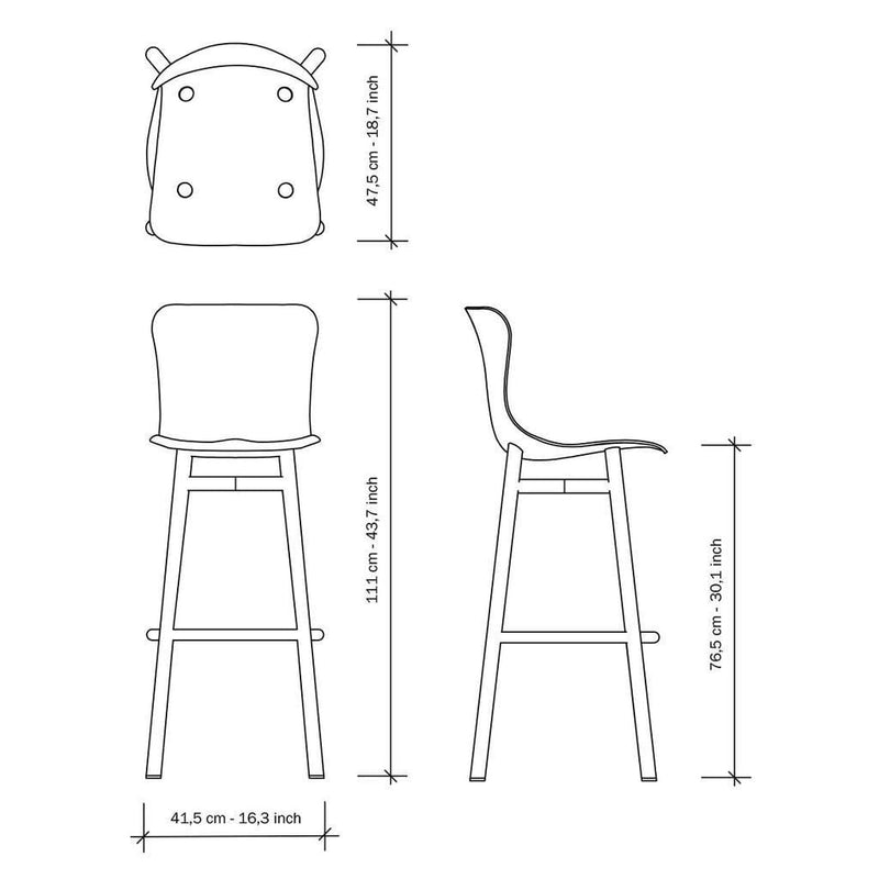 Wendela Barstool dimensions in diagram | JANGEORGe Interior Design