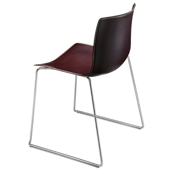 Catifa 46/0280 Chair with chromed steel sled base and upholstered shell