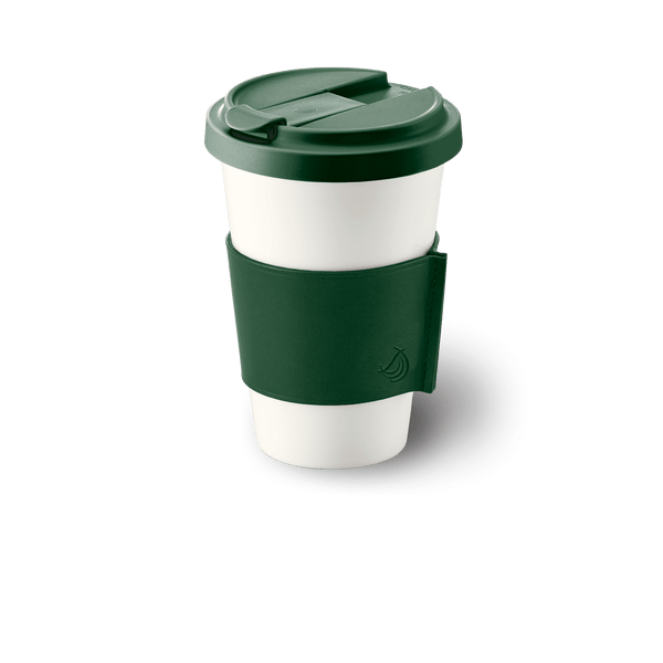 Conical-Cylindrical - Coffee To Go Cup with Leather Sleeve 11.8 fl oz | 0.35L | Dibbern | JANGEORGe Interior Design