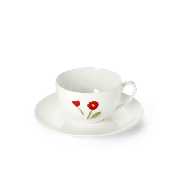 Impression (Red Flower) - SET - Saucer & Coffee Cup 8.5 fl oz | 0.25L | Dibbern | JANGEORGe Interior Design